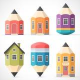 Set kolorowi ołówkowi domy Zdjęcie Royalty Free