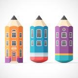 Set kolorowi ołówkowi domy Fotografia Royalty Free