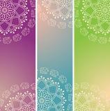 Set kolorowi orientalni słoń henny mandala vertical sztandary Obrazy Stock