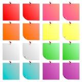 Set kolorowi, piękni kije, liście z guzikami Zdjęcia Royalty Free