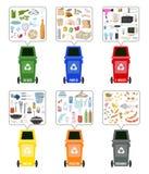 Set kolorowi pojemnik na śmiecie z ułożonym śmieci na białym backgr ilustracji