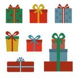 Set kolorowi prezentów pudełka z łękami i faborkami Obrazy Royalty Free