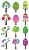 Set kolorowi drzewa, wektorowa ilustracja. Zdjęcie Stock