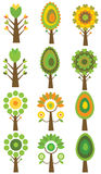 Set kolorowi drzewa, wektorowa ilustracja. Obraz Royalty Free