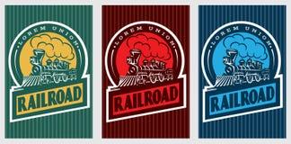 Set kolorowi retro plakaty z rocznik lokomotywą Zdjęcia Royalty Free