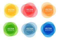 Set kolorowi round abstrakcjonistyczni sztandary Graficzny sztandaru projekt ilustracja wektor