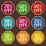 Set: Kolorowi sprzedaż sztandary, etykietki, dyskontowa etykietka Obraz Royalty Free