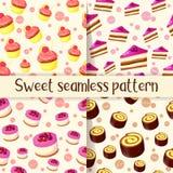 Set kolorowy bezszwowy wzór z smakowitymi deserami w kreskówka stylu Babeczka, tort, rolka i cheesecake, wektor Obrazy Stock