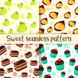 Set kolorowy bezszwowy wzór z smakowitymi deserami w kreskówka stylu Babeczki, torta, galarety i mango yuzu deser, Fotografia Stock