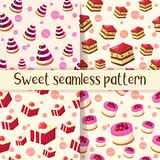 Set kolorowy bezszwowy wzór z smakowitymi deserami w kreskówka stylu Tort, galareta i cheesecake, również zwrócić corel ilustracj Obrazy Royalty Free
