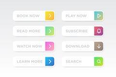 Set Kolorowy czysty styl zapina wektorowego nowożytnego materiał Różni gradientów kolory, ikony na białych formach z cieniami i ilustracja wektor
