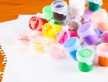 Set kolorowy farby zakończenie Fotografia Royalty Free