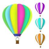Set kolorowy gorące powietrze balon Zdjęcie Royalty Free