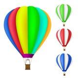 Set kolorowy gorące powietrze balon Obrazy Royalty Free