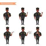 Set kolorowy odosobniony policjant przy pracą ilustracji