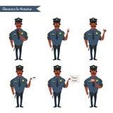 Set kolorowy odosobniony wektorowy policjant przy pracą ilustracja wektor