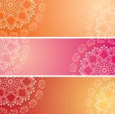 Set kolorowy orientalny słoń henny mandala horyzontalni sztandary Obrazy Royalty Free