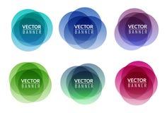 Set kolorowy round abstrakcjonistyczny sztandar narzuty kształt Graficzny sztandaru projekt Etykietki zabawy etykietki graficzny  Obraz Stock