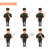 Set kolorowy wektorowy policjant przy pracą ilustracja wektor