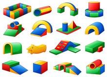 Set kolorowy wyposażenie w boisku na białym tle Zdjęcie Stock