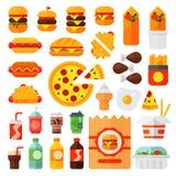 Set kolorowych kreskówka fasta food ikon cheeseburger restauracyjny smakowity amerykański mięso i niezdrowy hamburgeru posiłek Obraz Stock