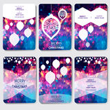 Set 6 Kolorowych Wesoło bożych narodzeń i Szczęśliwego nowego roku poligonalnych tło z płatkami śniegu, Obrazy Stock