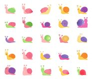 Set koloru ślimaczka ikony odizolowywać na białym tle ilustracji