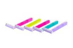 Set koloru golenia żyletka odizolowywająca na bielu Fotografia Stock