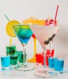 Set koloru napój, różni kształty szkła, napoju set Fotografia Stock