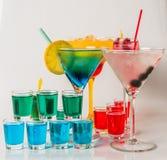 Set koloru napój, różni kształty szkła, napoju set Obrazy Stock