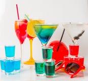 Set koloru napój, różni kształty szkła, napoju set Zdjęcie Royalty Free