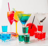 Set koloru napój, różni kształty szkła, napoju set Obraz Stock