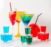 Set koloru napój, różni kształty szkła, napoju set Zdjęcie Stock