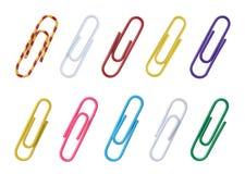 Set koloru papieru klamerki dla papieru. Fotografia Stock