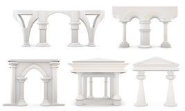 Set kolumny odizolowywać na białym tle świadczenia 3 d ilustracji