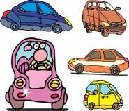Set komicznego gatunku rodzinni samochody Zdjęcia Stock