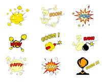 Set komiczni kreskówka teksta wybuchy Obraz Stock