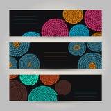 Set kontrastów Horyzontalni sztandary Abstrakcjonistyczny Afrykański ornament V Obrazy Stock