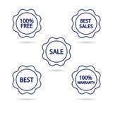 Set konturów znaczki round kształt błękitny kolor na białym tle z tekstem wektor Zdjęcie Stock