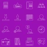 Set konturowe biznesowe ikony na purpurowym tle Obrazy Royalty Free
