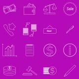 Set konturowe biznesowe ikony na purpurowym tle Fotografia Royalty Free
