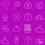 Set konturowe biznesowe ikony na purpurowym tle Zdjęcia Royalty Free