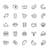Set konturu uderzenia jedzenia ikona Obraz Royalty Free