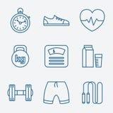 Set konturu uderzenia sprawności fizycznej ikony Wektorowe Zdjęcie Stock