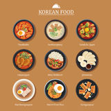 Set of korean food flat design. Asia street food illustration ba. Ckground Stock Photos