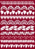 Set Koronkowy papier z sercem Zdjęcie Royalty Free