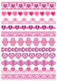 Set Koronkowy papier z sercem, wektor Fotografia Stock