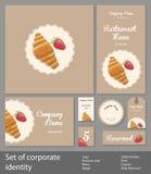 Set korporacyjna stylowa restauracja z croissant royalty ilustracja