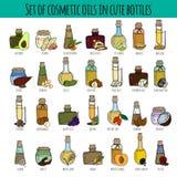 Set kosmetyczni oleje ilustracja wektor