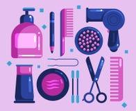 Set kosmetyki dla włosy i twarzy ilustracja wektor